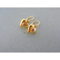 Zlaté náušnice detské plné srdiečko kamienok žlté zlato DA086Z