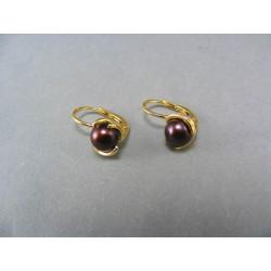 Zlaté náušnice žlté zlato s perlou VA368Z