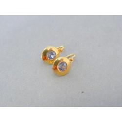 Zlaté detské náušnice žlté zlato okrúhle s kamienkom DA170Z