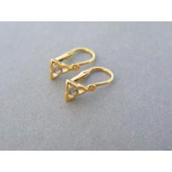 Zlaté detské náušnice trojuholník žlté zlato kamienok DA075Z