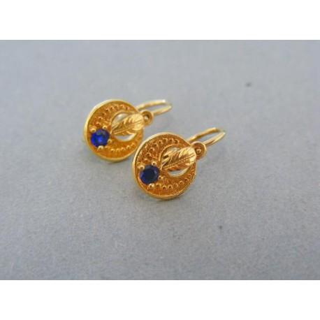 Detské náušnice žlté zlato tvar okrúhly modrý kamienok vzorované